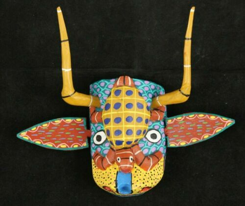 Small Wood Hanging Mask Mexican Folk Art Décor Collectible Removable Horns #5