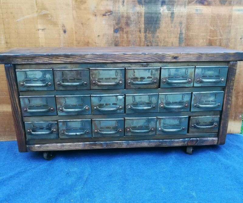 Industrial Bench Vintage Equipto 18 Drawer