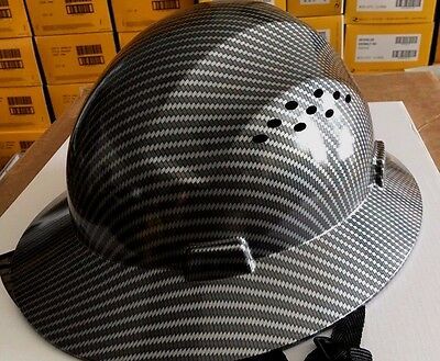 Fiberglass  Black Silver Full Brim Hard Hat With Fas Trac Suspension Cool Air Fl