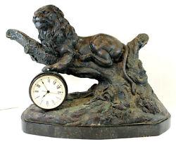 Beautiful Maitland Smith Petina Cast Bronze Lion Clock with Veneer Marble Base
