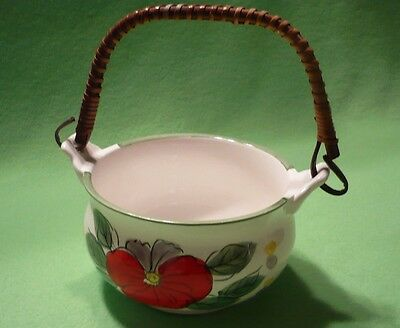 Vintage Japanese serving bowl with wrapped wood handle. Hand-painted flowers.Exc