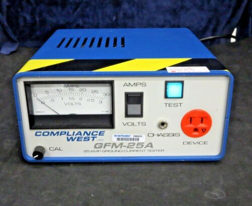 Compliance West GFM-25A Ground High-Current Tester (25A, 3V, 50/60Hz) W/Manual
