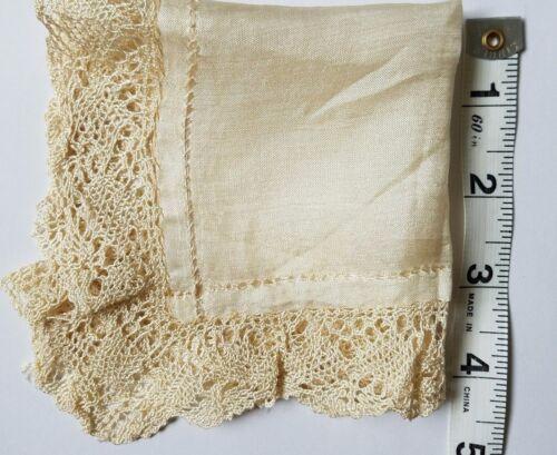 Antique Silk & Lace Handkerchief Hankie Bridal Wedding Baptismal Christening A12