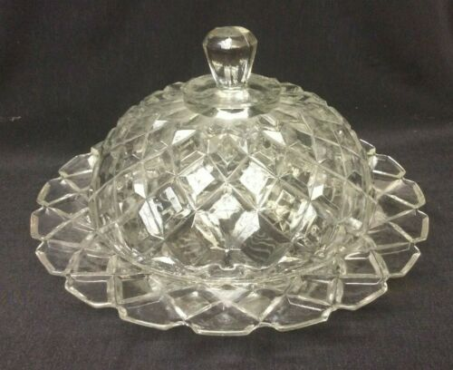 VINTAGE WATERFORD WAFFLE DEPRESSION GLASS CLEAR BUTTERDISH