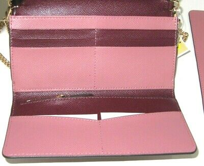 Michael Kors Large Multifunction Wallet On A Chain Oxblood Pink Crossbodies NWT