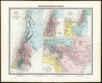Antique Map-BIBLE-PALESTINE-ISRAEL-CANAAN-KING HEROD-Tardieu-Vuillemin-1863