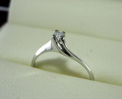 Anello solitario oro bianco 18 kt. diamante naturale da ct.0.03 gioielli donna