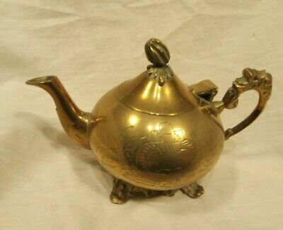 Vintage Brass Small Teapot Indian Brass Hand Carved Good Condition