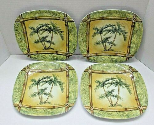 """Melamine Plates By Kathleen Denis With Tropical Palm Trees Set Of 4 8.5"""""""