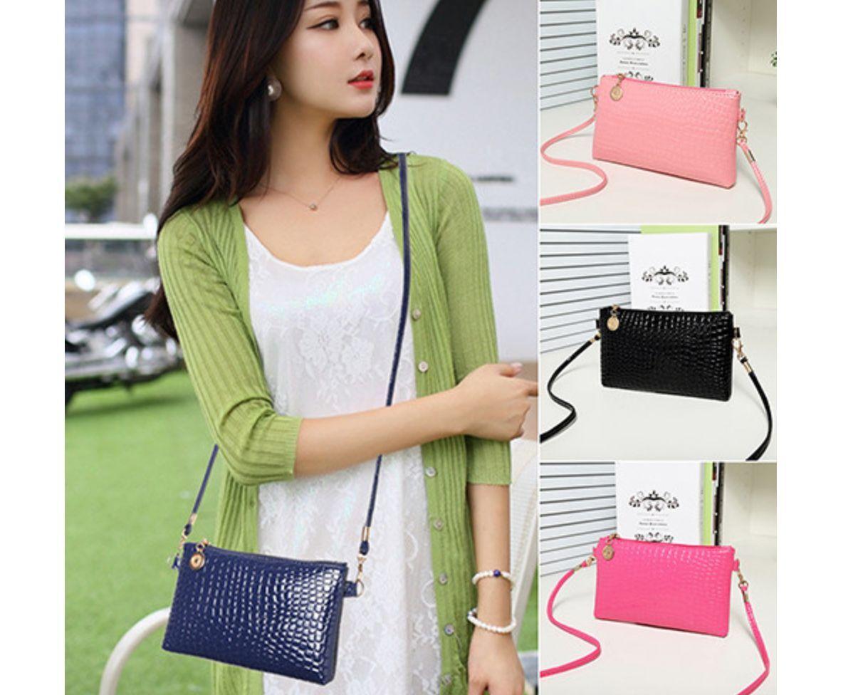 Clutch klein Kroko schwarz blau beige rosa Style Handtasche Umhängetasche mini