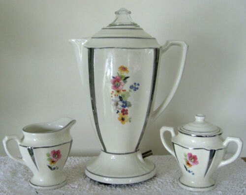 Vintage 1930s PORCELIER Porcelain Percolator Coffee Pot w/ Creamer & Sugar Bowl