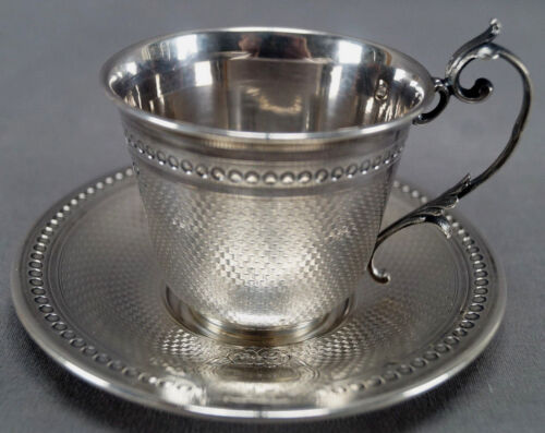 Pierre Queille French 950 Silver Greek Key Demitasse Cup & Saucer 1838 - 46