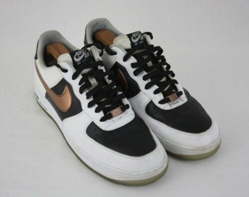 Nike Air Force 1 Mens White Black Copper Swoosh Low Sneakers Shoes Sz 11M