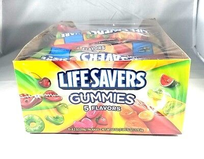 Life Savers SHARE SIZE Gummies 5 Flavors Candies 4.2 oz, 15 ct Bags BB 1/19 NEW - Lifesaver Gummies
