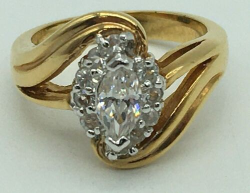 VINTAGE GOLD TONE MARQUISE CUT CLEAR RHINESTONE COCKTAIL RING SIZE  7