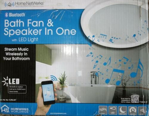Home Netwerks Bathroom Exhaust Ventilation Fan LED Light & Bluetooth Speaker