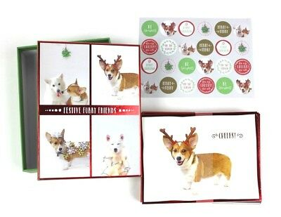 Box of 20 Festive Furry Friends Deluxe Holiday Christmas Note Card Set Corgi Dog