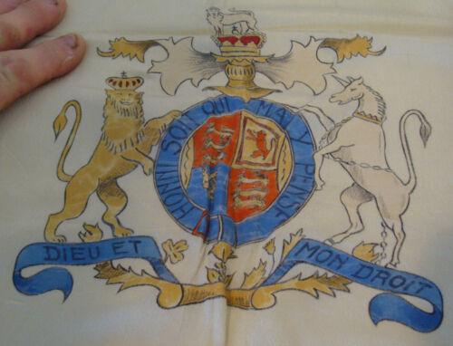 British Royal Coat of Arms Crest vintage silk Scarf Honi Soit Qui Mal y Pense
