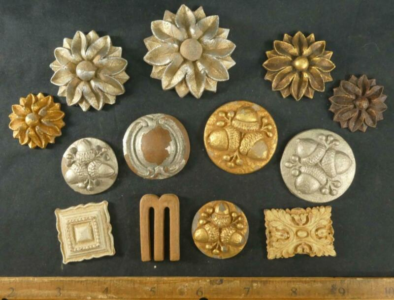 RARE Vintage 12 Syroco Wood POSSIBLY Buttons Syracuse NY ODD MIX Etc Odd Shaped