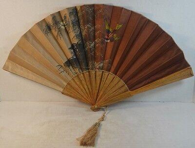 Antique Painted Silk Folding Hand Fan