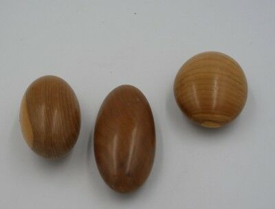 3 handcarved wooden Eggs 3