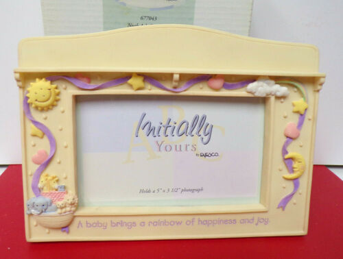 A BABY BRINGS... Noah Ark INITIALLY YOURS Enesco Med Photo Picture Frame
