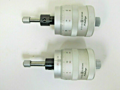 Lot Of 2 Mitutoyo 0-25 Mm Micrometer Heads For Xy Stage .0005 Graduation Japan