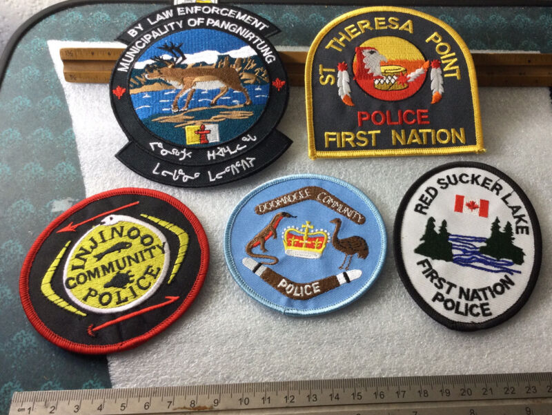 Tribal Police Tribe First Nation Indian Police Indigenous Lot Of 5 Patches