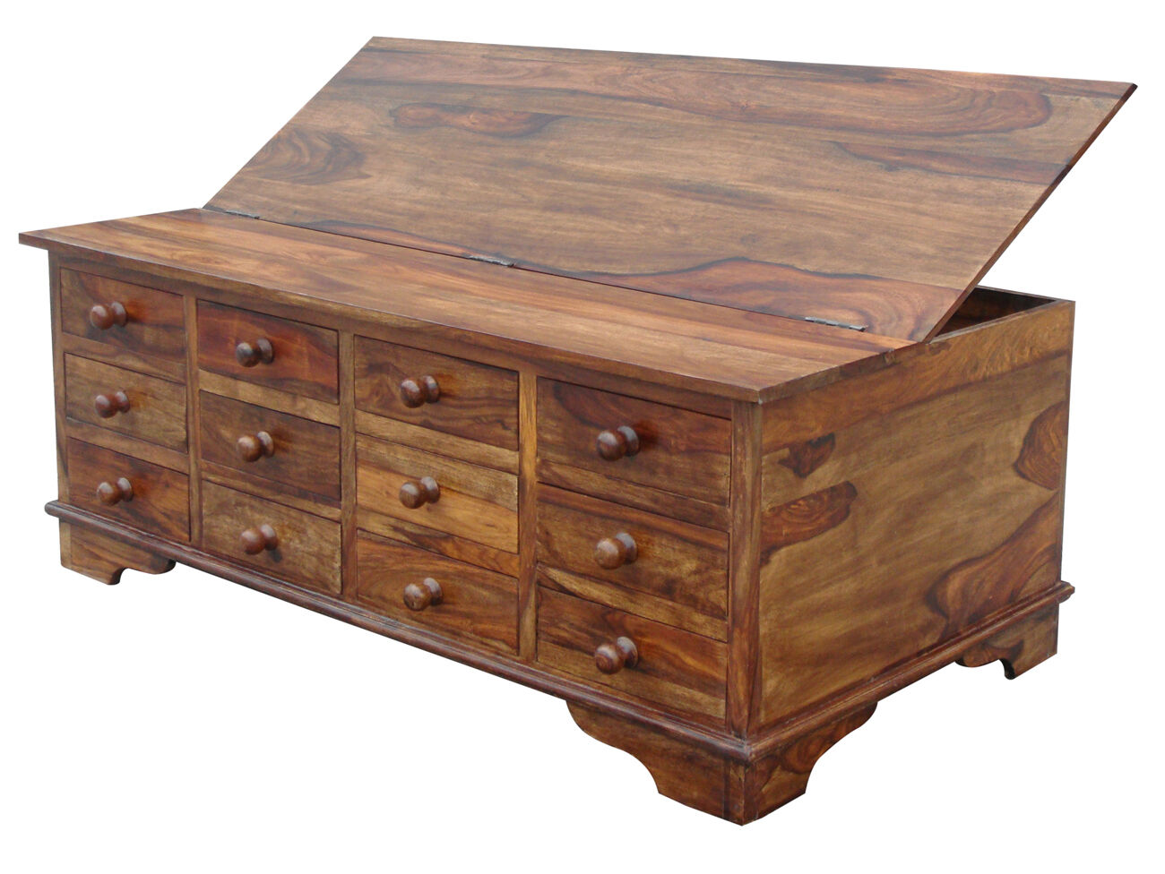 solid sheesham wood 12 drawer coffee table trunk chest ebay