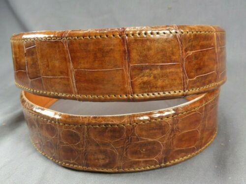 "Genuine COGNAC Alligator-Crocodile skin Waist 35-36 Belt Size 37-38 x 1.5"" wide"