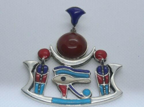 PHARAONIC ANCIENT EGYPTIAN ANTIQUE HORUS EYE SILVER AGATE LAPIS STONE AMULET BC