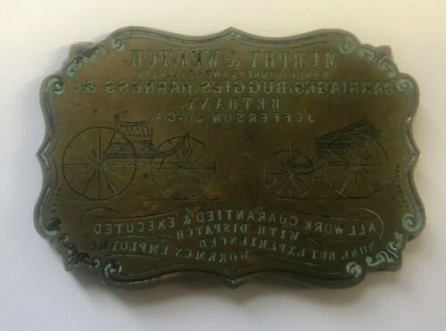 Antique Brass Hand Etched Printing Plate Advertising Murphy & Weltch Carriages