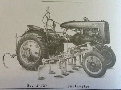 Farmall A A-134 1-row A-435 4-row Hand Lift Cultivator Owners Parts Manual Ih