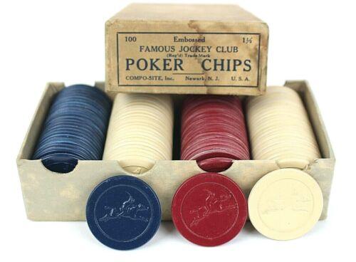 Vintage Famous Jockey Club Horse Embossed 100 Poker Chip Set Newark NJ USA