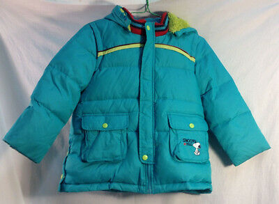 Snoopy Peanuts Winter Jacket Everyone's Best Friends 1950 Teal Blue Zip Hood