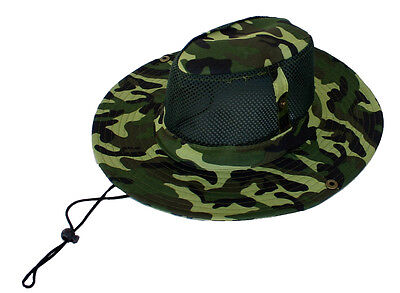 Outback Safari Bucket Flap Boonie Hat w/Mesh - Green Camouflage - Free Shipping