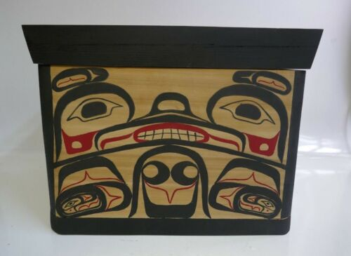 Ron Alphonse (Kwakwakwak) Native Carved Polychrome Bentwood Box W/ Pegged Lid