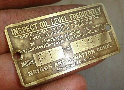 Briggs And Stratton Fi Original Name Tag Old Gas Engine Serial No. 12934
