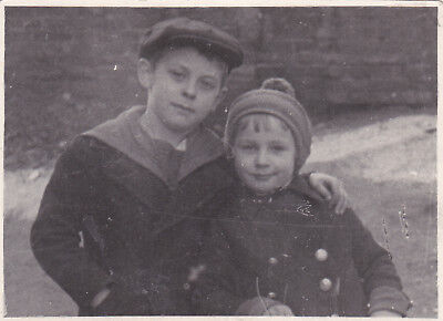 1950s Cute little boy & girl bother & sister fashion old Russian Soviet photo