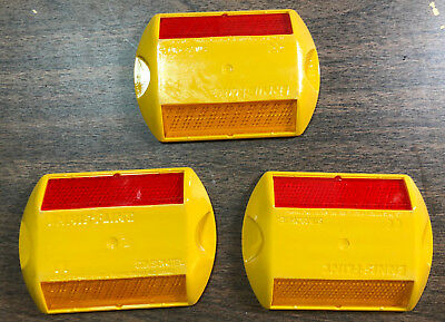 Lot Of 3 - Stimsonite Reflective Road Highway Pavement Marker Yellow-red