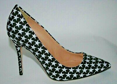 Crew High Heel Heels (J CREW Roxie Star Printed High Heel Size 8 Black / White Stars  )