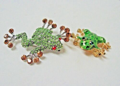 new LOT 2 green FROG pin brooches crystal enamel