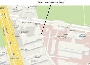 Secure underground tandem carpark (next to Seek and Alfred Hospital)