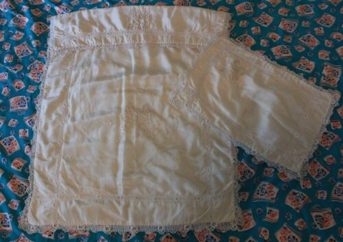 Antique Silk Baby Blanket Pillow Butterfly Embroidery Irish Crocheted Lace Trim