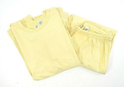 Vtg 90s GAP Yellow Crewneck Sweatshirt Sweatpants Joggers 2pc Gym Sweatsuit XL