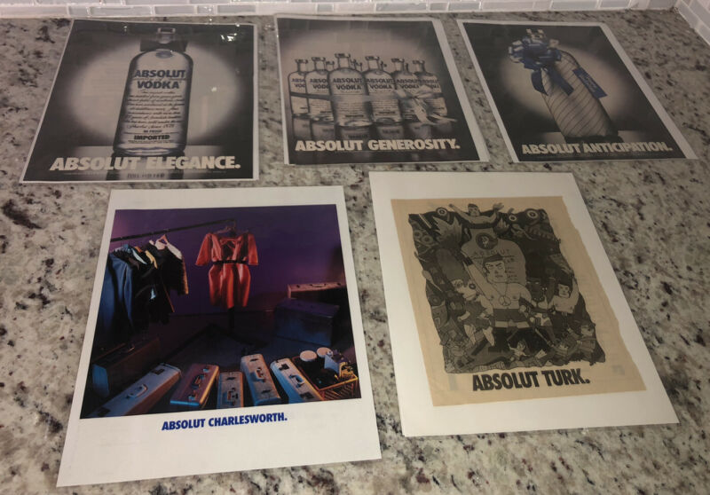 lot of 10 ABSOLUT Vodka Ad Page Collection VIEW PICTURES 80