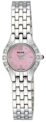 Pulsar By Seiko Diamond Bezel Silver-Tone Pink-MoP Dial Women's Watch - Pulsar Pink Watch