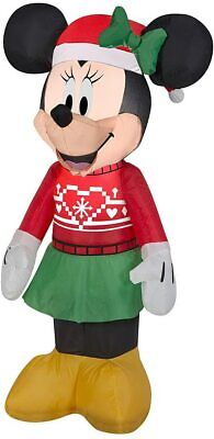 3 1/2' Gemmy Airblown Inflatable Minnie Mouse in Christmas Sweater Yard Decor