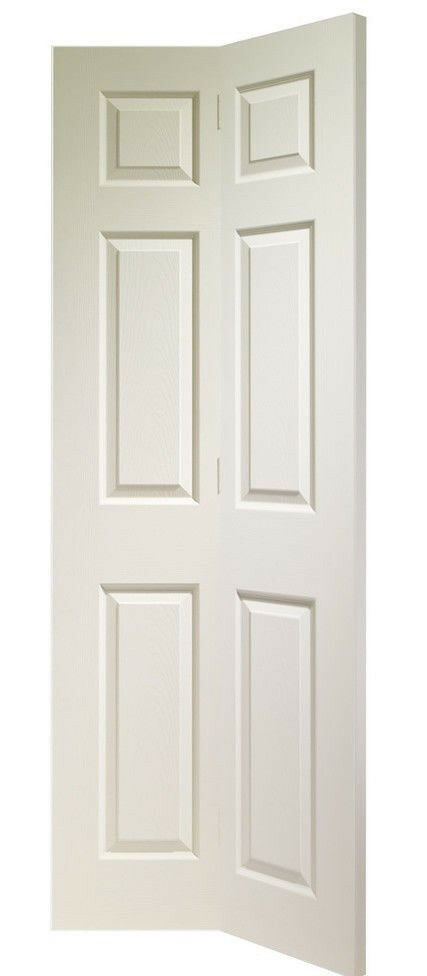 Classic White 6 Panels Interior Folding 2 Hinged Bi-fold Double Doors/Stand Alone Room Divider.