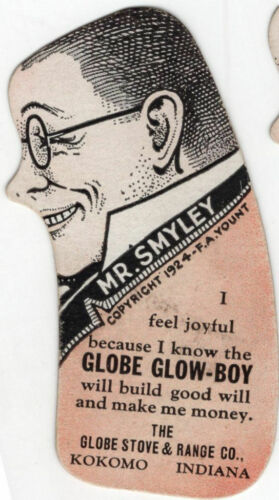1924 Kokomo Indiana Globe Glow-Boy Stove Smiley & Happy Advertising Die Cut Men